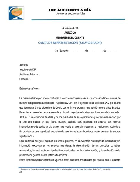 carta formal membrete politicas internas de una firma de auditoria 2010