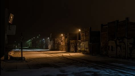 night street lights graffiti snow industrial winter