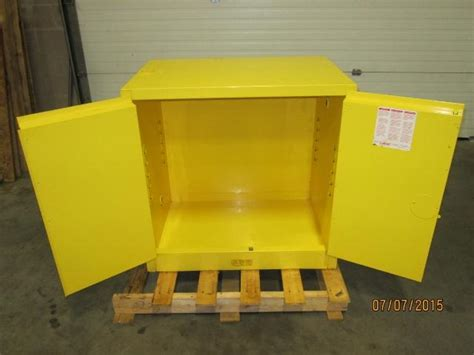 Yellow Metal Storage Cabinet Lot 3 Yellow Steel Safety Storage Cabinet For Flammable Liquids Wyandanch Ny Wirebids