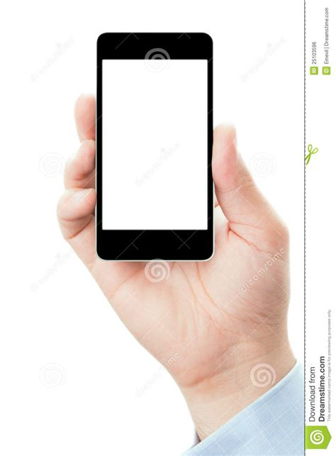 hand holding smartphone in vertical position stock photo