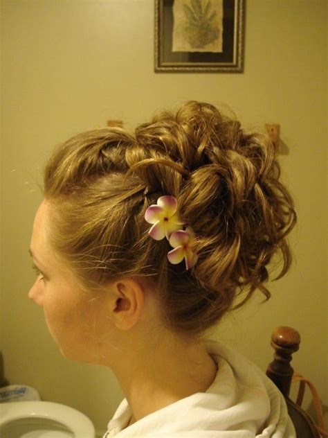 formal hairstyles with flowers prom updo hawaiian flowers lovely hair pinterest