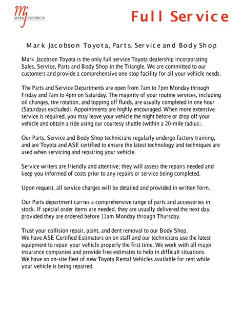 Jacobson Toyota Service Hours Durham Toyota Repair Jacobson Toyota Service Center