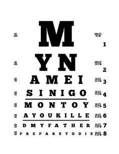 printable dot eye chart 1000 images about the princess bride on pinterest the