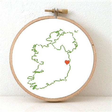 Wedding Anniversary Gifts Dublin by Ireland Map Modern Cross Stitch Pattern Ireland St