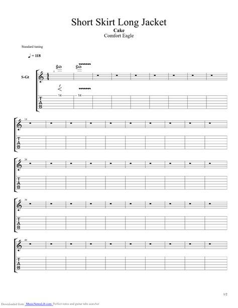Comfort Eagle Chords by Skirt Jacket Guitar Pro Tab By Cake