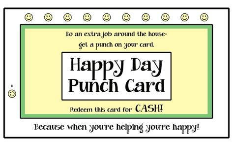 free printable punch card template best photos of punch card templates elementary