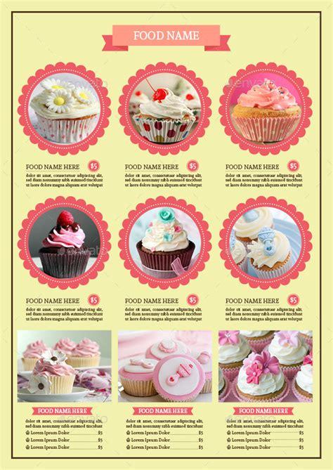 cupcake menu card template bifold cupcake menu template vol 2 by avindaputri