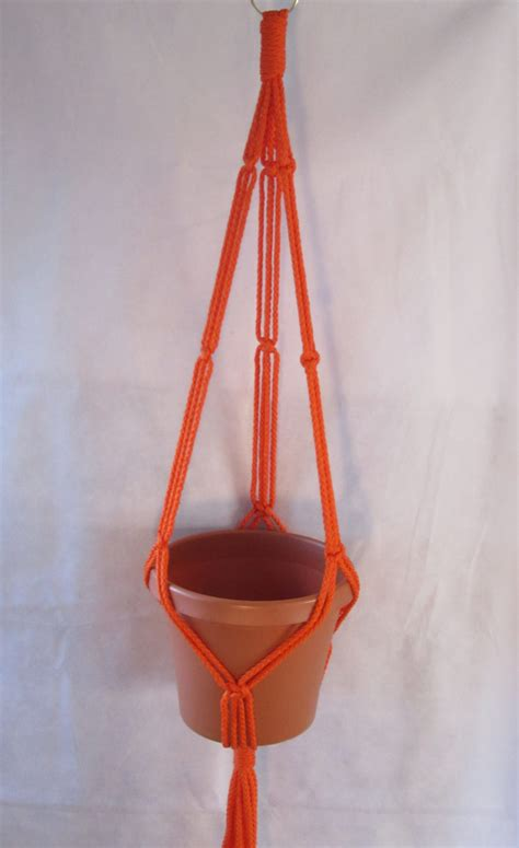 macrame plant hanger 35in simple 3 arm 6mm orange