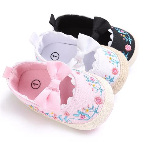 newborn crib shoes puseky 2017 toddler newborn baby crib shoes bow embroidery princess baby soft sole anti slip