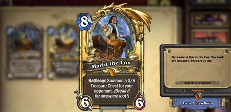 Hearthstone Codes Giveaway - blizzcon legendary card marin the fox free in hearthstone esperino