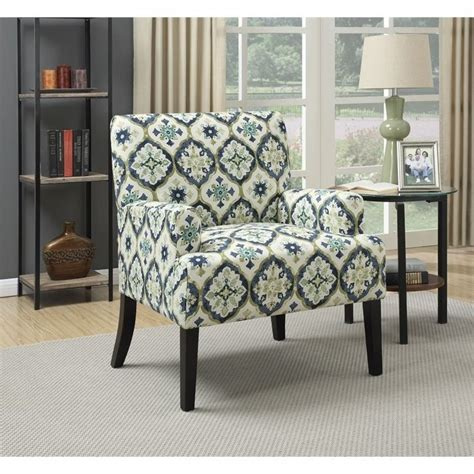 blue pattern accent chair coaster geometric pattern accent chair in blue and green
