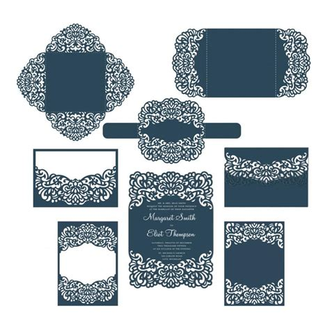 Silhouette Cameo Card Templates by Set Laser Cut Wedding Invitation Templates Card Envelope