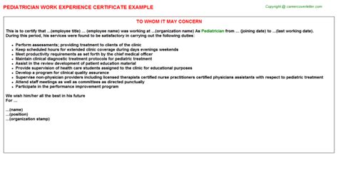 Work Experience Letter Physiotherapist pediatric doctor work experience letters