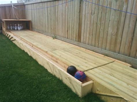 amazing diy wood backyard bowling alley  gardens