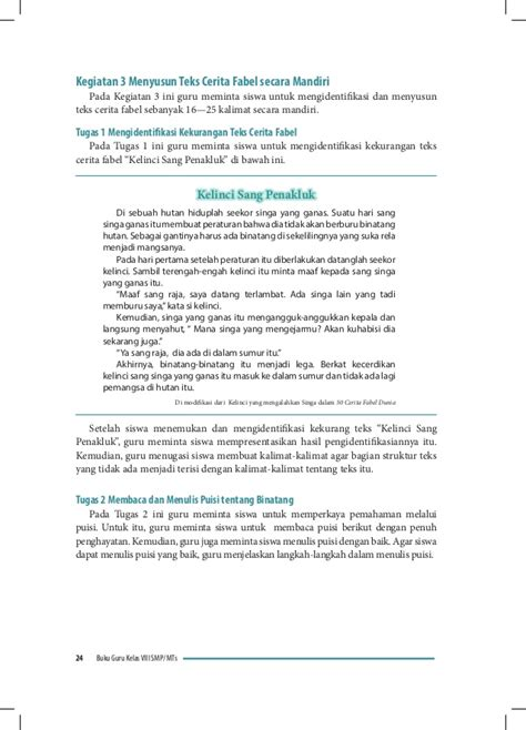 membuat puisi kelinci bahasa indonesia smp kelas 8 buku guru kurikulum 2013
