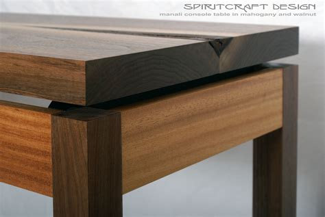 modern walnut console table manali collection floating elements in modern furniture
