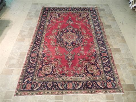rug 7x10 vintage handmade 7x10 carpet tabriz gift rug navy ebay