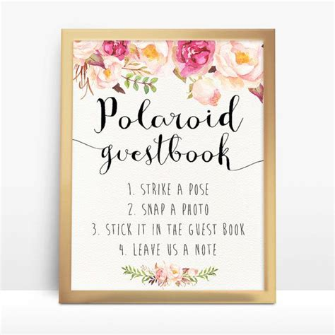Polaroid Guestbook Printable Polaroid Guest By Happylifeprintables Wedding Stuff Pinterest Polaroid Guest Book Sign Template