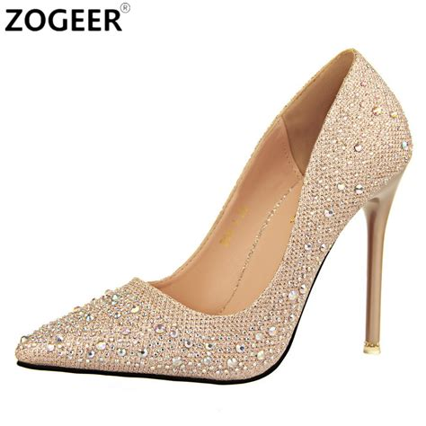 High Heels Gold Silver new 2017 autumn pumps black gold silver