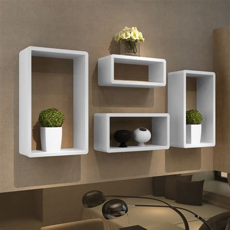 4 retro wall cubes floating shelves stand storage display