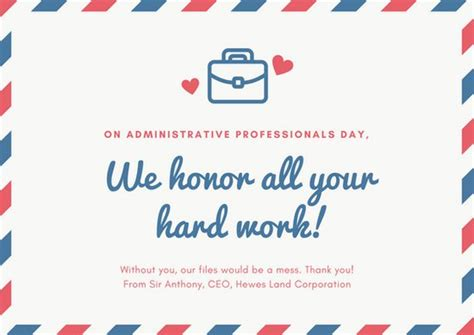 Administrative Day Card Template by And Blue Mail Theme Administrative Professionals Day