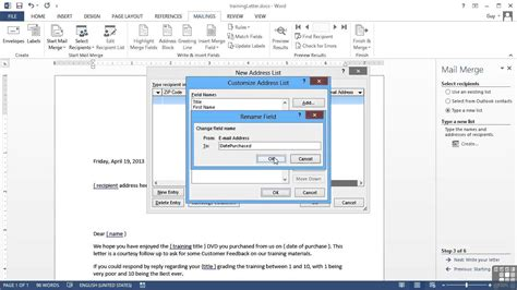 tutorial word 2013 microsoft word 2013 tutorial step by step mail merge