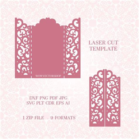 cutting templates card 44 best laser cut wedding invitation template images on