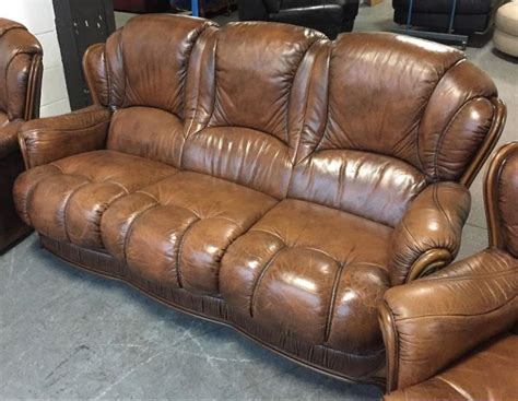 italian style leather sofas uk stunning italian leather antique brown chesterfield style
