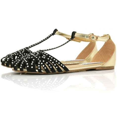 diamante flat shoes buy cutie flat diamante t bar sandal shoes black leather