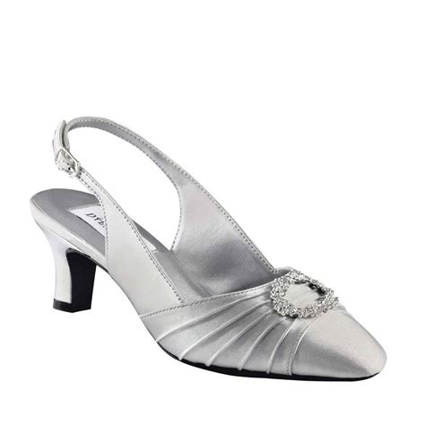 silver satin rhinestone formal s bridal 2 quot heel