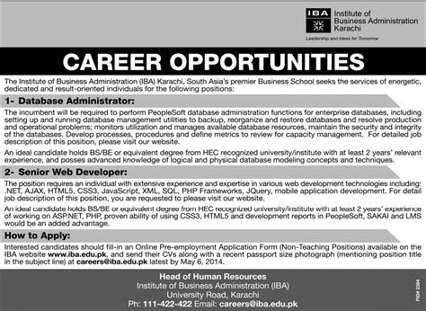 database administrator web developer jobs in iba karachi