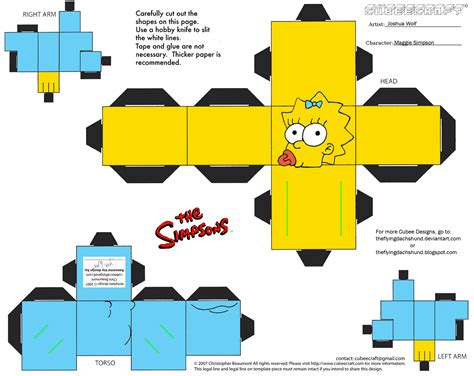 Simpsons Papercraft - simpsons1 maggie cubee by theflyingdachshund on