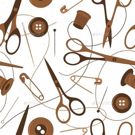 sewing pattern wallpaper seamless background pattern of sewing accessories by