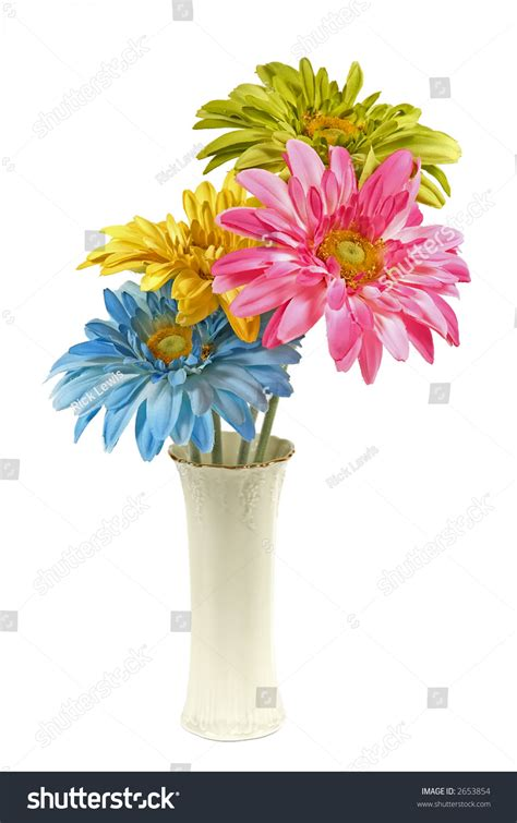 White Vase With Flowers by White Vase With Four Colorful Silk Flowers Stock Photo 2653854