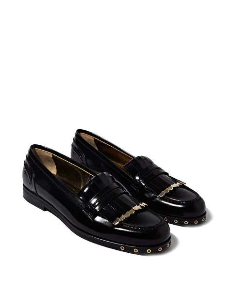 womens black loafers lyst lanvin womens loafer shoes in black