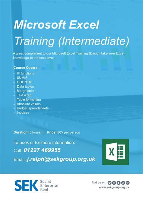 tutorial excel intermediate computer training courses kent social enterprise kent
