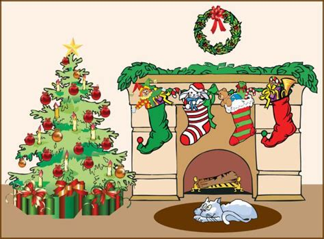 christmas fireplace stockings clipart clipart suggest