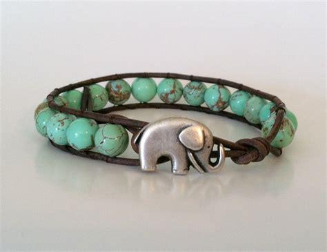 elephant leather wrap bracelet green magnesite wrap