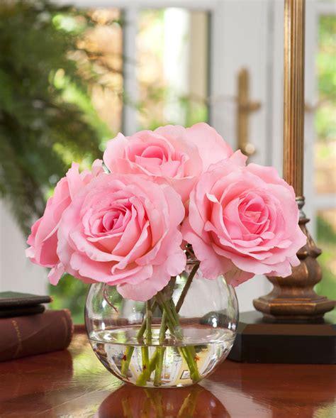 Vase With Marbles Shop Lifelike Rose Nosegay Silk Flower Arrangement At Petals
