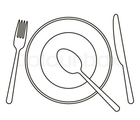 Place setting with plate, knife, spoon and fork   Stock