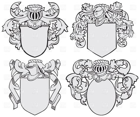 heraldic design elements vector knightly coats of arms and royal heraldic elements royalty