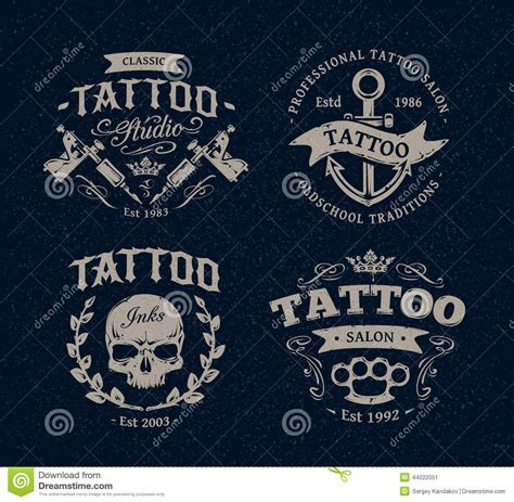 logo tattoo estudio tattoo studio emblems stock vector image 44022051