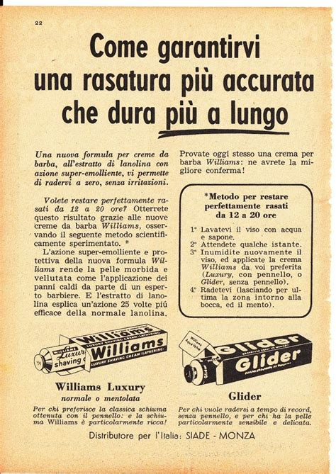 Calendario De 1957 Glider Williams Luxury Sapone Crema Barba Siade Monza