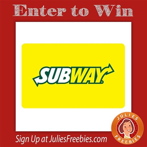 Subway E Gift Cards - subway match and win instant win game julie s freebies