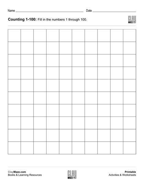 printable counting 1 100 worksheets counting chart 1 to 100 blank free printable children