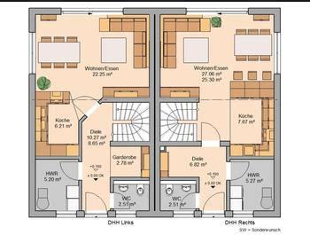 quadratischer grundriss fuer ein doppelhaus gesucht