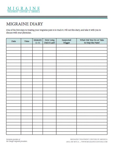 free printable migraine journal migraine diary headaches migraines pinterest