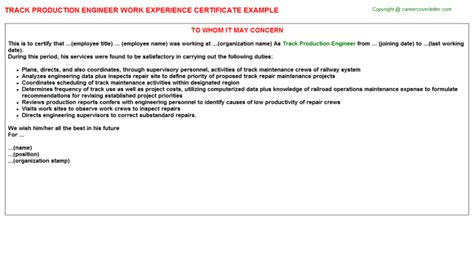 Offer Letter Format For Production Engineer Track Production Engineer Work Experience Certificate