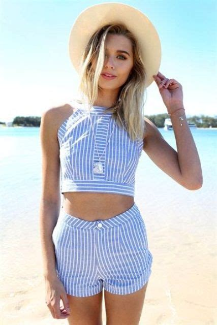 Matching Striped Shorts picture of matching blue and white striped shorts and a