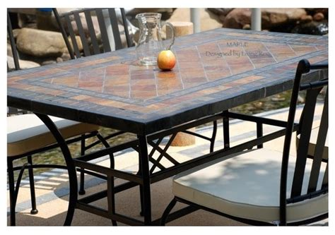 Slate Top Patio Table Garden Patio Mosaic Slate Table 78 Quot Maple Craftsman Outdoor Dining Tables Los